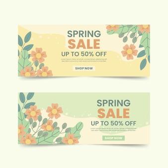 Paquete de banners de venta de primavera plana