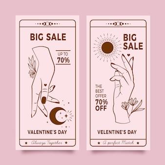 Paquete de banners de venta de san valentín dibujados a mano