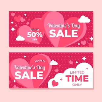 Paquete de banners de venta de san valentín de diseño plano
