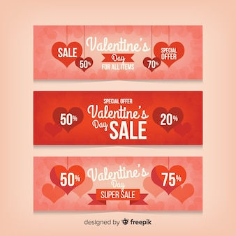 Paquete de banners de venta de san valentín