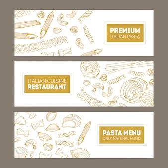 Paquete de banners web horizontales con varios tipos de pasta dibujados a mano con líneas de contorno