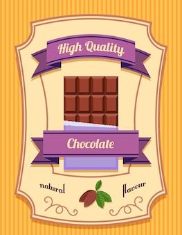 Paquete de barra de chocolate de alta calidad sabor natural ilustración de vector de cartel plano