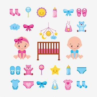 Paquete de bebés lindos y accesorios de bebé, diseño de ilustración