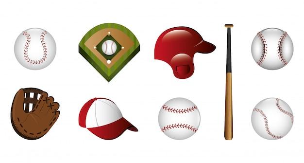 Paquete de béisbol e íconos