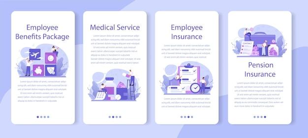 Paquete de beneficios para empleados conjunto de banners de aplicaciones móviles