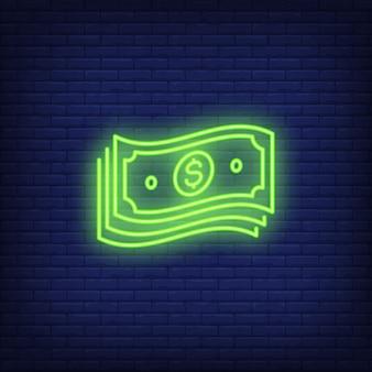 Paquete de billetes de dólar letrero de neón