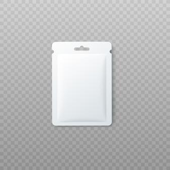 Paquete en blanco o bolsita de aluminio sobre fondo transparente.