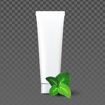 Paquete en blanco de pasta de dientes con vector de sabor a menta