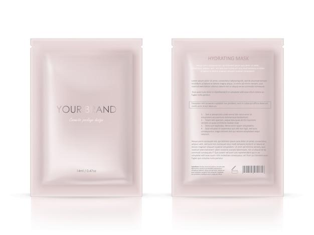 Paquete en blanco, sobre de papel desechable para máscara facial o champú