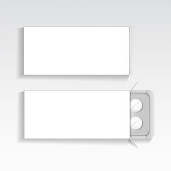 Paquete blanco con tabletas medicamentos maqueta plantilla vector.