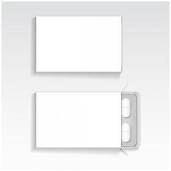 Paquete blanco con tabletas ovales medicamentos maqueta plantilla vectorial.