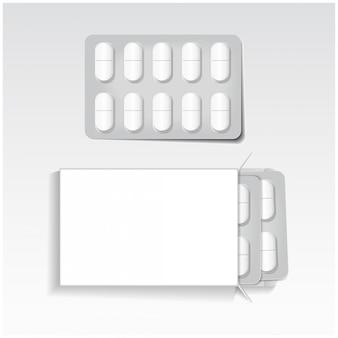 Paquete blanco con tabletas ovales, paquete de ampollas medicamentos maqueta plantilla vectorial.