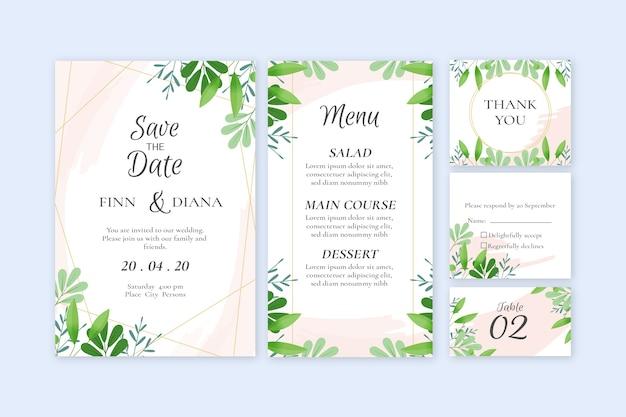 Paquete de boda de plantilla de papelería