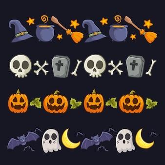 Paquete de borde de halloween de diseño dibujado a mano
