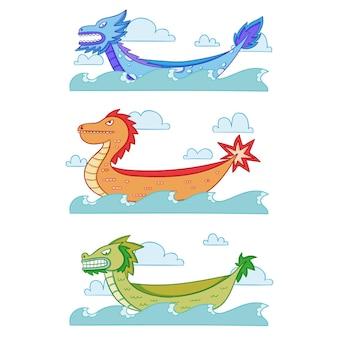Paquete de bote de dragón de diseño dibujado a mano