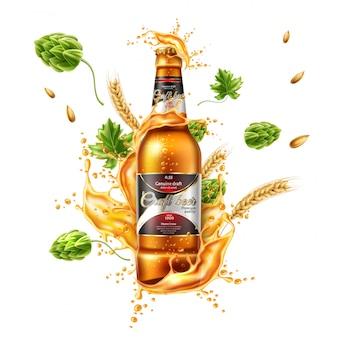Paquete de botella de cerveza realista de vector con salpicaduras de cerveza lager con orejas de lúpulo y trigo verde.