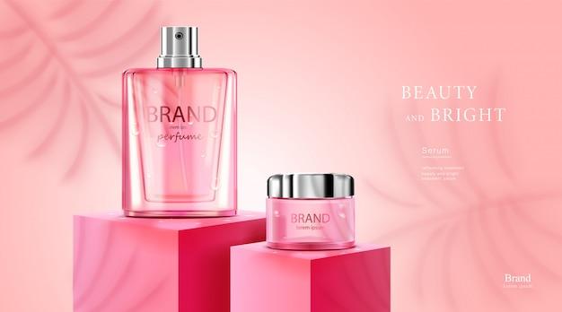 Paquete de botella cosmética de lujo crema para el cuidado de la piel, póster de productos cosméticos de belleza, con fondo de color rosa y blanco