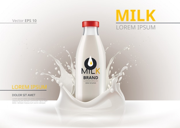 El paquete de la botella de leche simula realista vector. fondo de salpicadura líquida