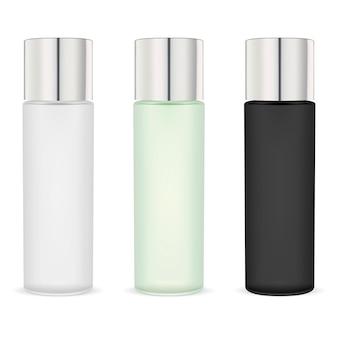 Paquete de botellas de crema hidratante cosmética. blanco negro