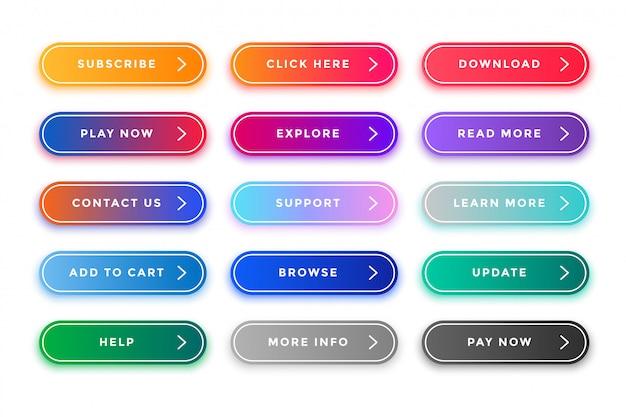 Paquete de botones web coloridos para diferentes propósitos