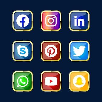 Paquete brillante 3d brillante de botón de icono de red de medios sociales para sitio web ux ui y aplicación premium