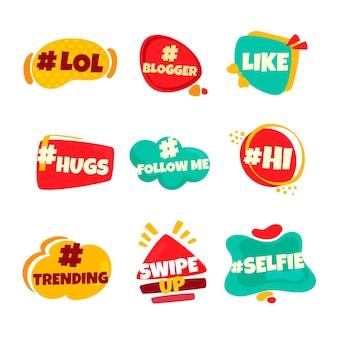 Paquete de burbujas de argot de redes sociales