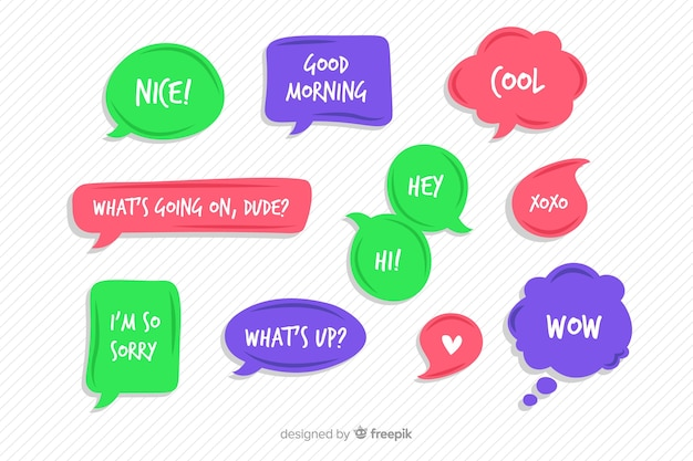 Paquete de burbujas de discurso cómico colorido