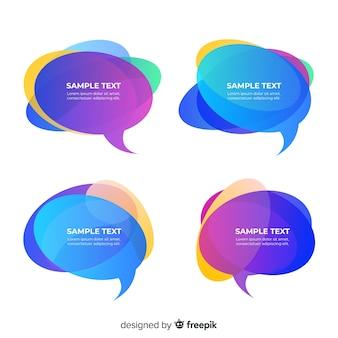 Paquete de burbujas de discurso degradado colorido