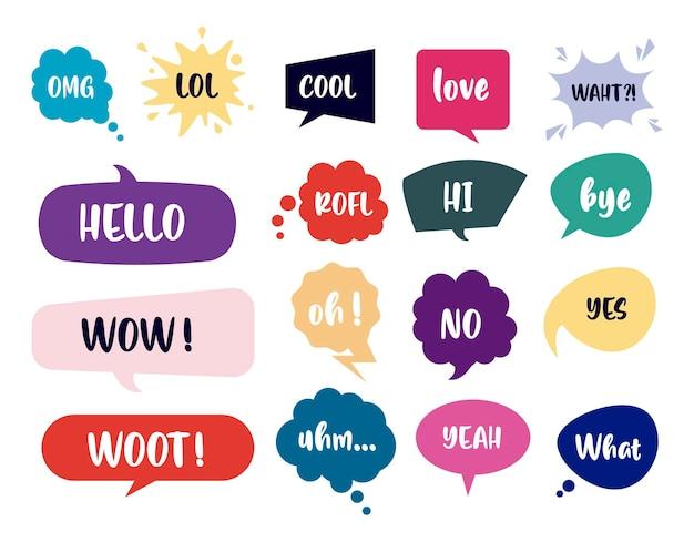Paquete de burbujas de discurso retro y letras ilustración de estilo pop art