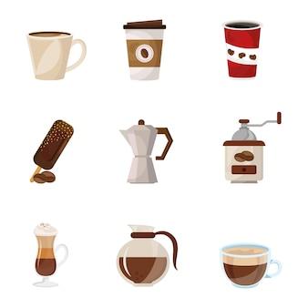 Paquete de café deliciosa bebida set iconos