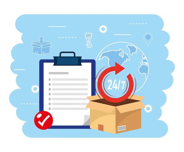 Paquete de caja con lista de verificación al servicio de entrega.