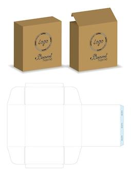 Paquete de caja troquelado con simulacro 3d