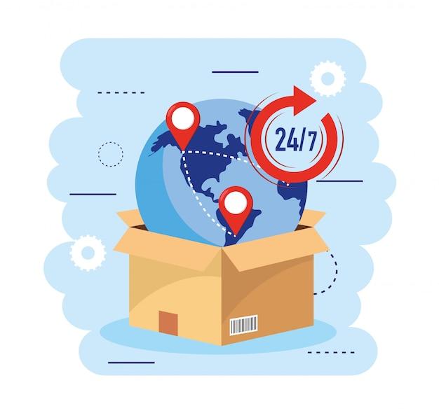 Paquete de cajas con mapa global y servicio de transporte.