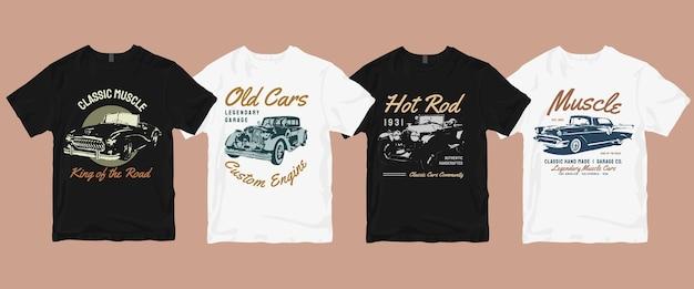 Paquete de camisetas de coches antiguos