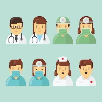 Paquete de caracteres del hospital en diseño plano