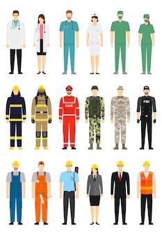 Paquete de caracteres de trabajo de diseño plano