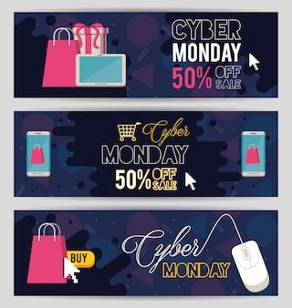 Paquete de carteles del día del lunes cibernético