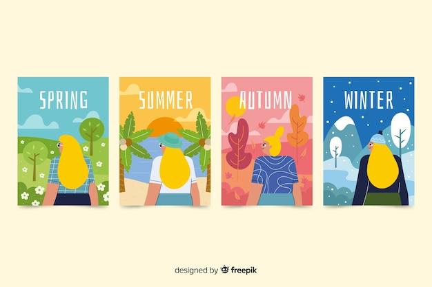 Paquete de carteles de temporada coloridos dibujados a mano