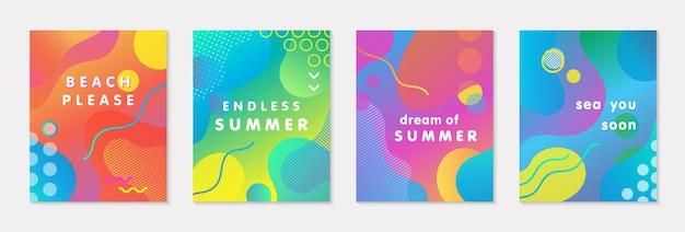 Paquete de carteles de verano vector moderno con fondo degradado brillante, formas y elementos geométricos.diseño abstracto de moda perfecto para impresiones, redes sociales, pancartas, invitaciones, diseño de marca, portadas
