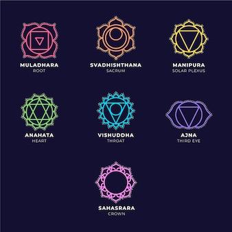 Paquete de chakras coloridos
