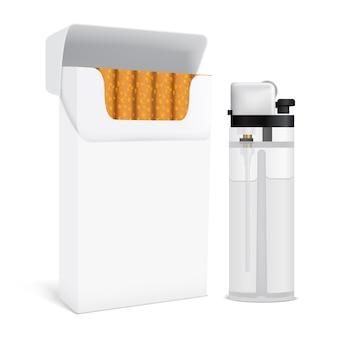 Paquete de cigarrillos y juego de encendedores