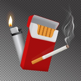 Paquete de cigarrillos realista y composición más ligera