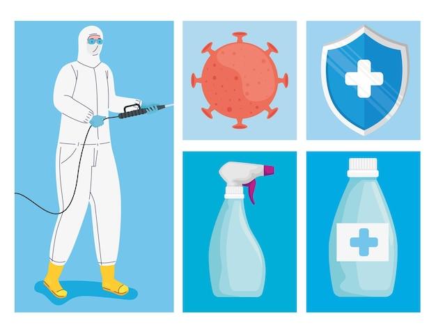 Paquete de cinco desinfectantes set iconos ilustración