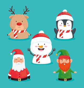 Paquete de cinco feliz navidad feliz set iconos ilustración diseño