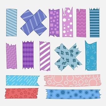 Paquete de cinta washi dibujada