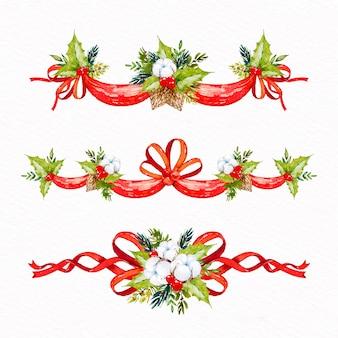 Paquete de cintas navideñas de acuarela