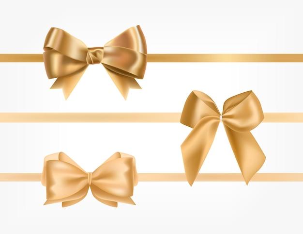 Paquete de cintas de raso dorado decorado con lazos