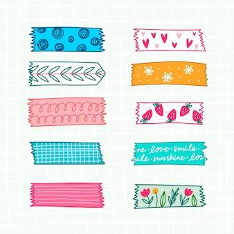 Paquete de cintas washi diferentes dibujadas