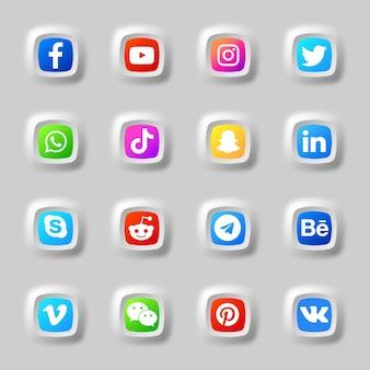 Paquete de colección de iconos y logotipos 3d de redes sociales