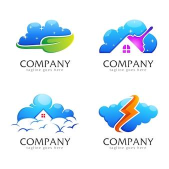 Paquete de colección de logotipos creativos en la nube